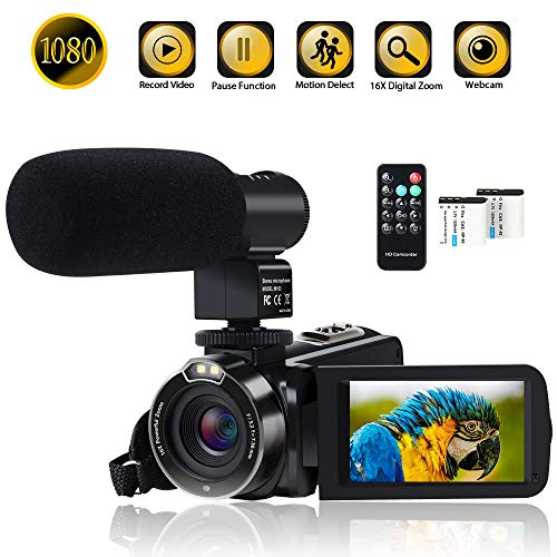 Video Camera Camcorder Digital YouTube Vlogging Camera Recorder FHD 1080P 24.0MP 3.0 Inch 270 Degree Rotation Screen 16X Digital Zoom with Microphone, Remote Controller and 2 Batteries for Sports (The Best Camera For Youtube Videos)