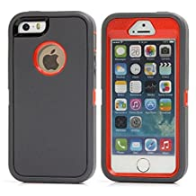 iPhone SE Case, Lookly [Armorbox Series] Heavy Duty Rugged Scratch Resistant Shockproof Full Body Protective with Built-in Screen Protector Case for Apple iPhone 5S/SE (Gray+Red)
