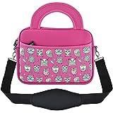 """KOZMICC Tablet, Kids Tablet Neoprene Carrying Shoulder Strap Messenger Sleeve Case Bag Handle Pocket for Apple, Samsung, HP, Acer, ASUS, Leapfrog (8"""", Pink)"""