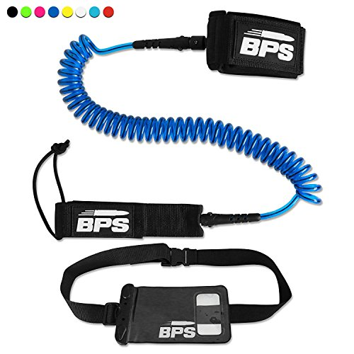 BPS 10 Coiled SUP Leash with Rail Saver with Rail Saver w/Waterproof Wallet - Dark Blue