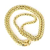 "14k Yellow Gold Hollow Links 4.1mm Diamond-Cut Spiga Round Wheat Chain Necklace, 20"" 22"" 24"""