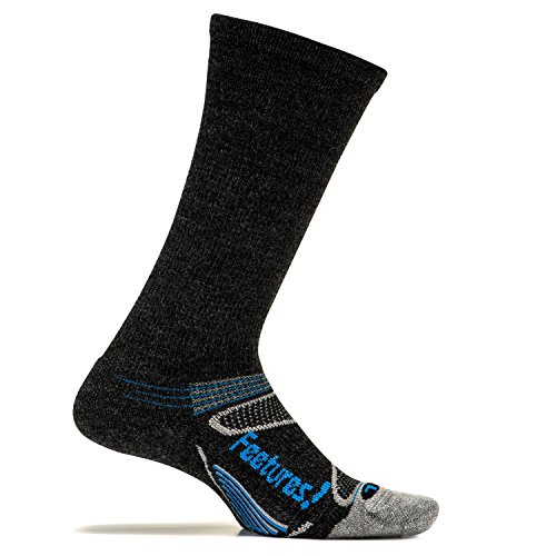 Feetures - Merino+ Cushion - Crew - Athletic Running Socks for Men and Women - Charcoal + Brilliant Blue - Size X-Large by Feetures!