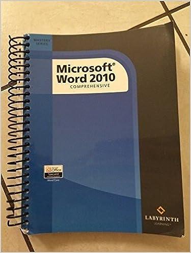 microsoft word 2010 comprehensive judy mardar 9781591363040