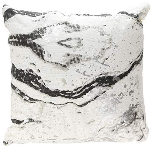 Urban by Design Black Metallic Marble Foil Printed Decorative Throw Pillow with Inner Cushion 12x12 [並行輸入品] B07RCVK37G