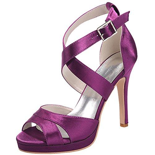 Loslandifen Femmes Mariée À Bout Ouvert Satin Cheville Bretelles Talon Haut Plate-forme Chaussures De Mariage Violet-a