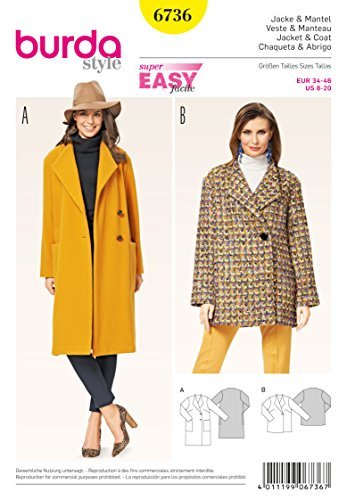 Burda Misses Jacket (Burda 6736 Misses 'Jacket and Coat White by Burda)