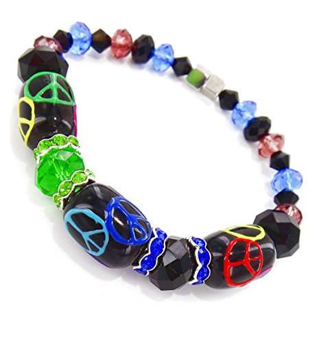 Black Peace Sign Bracelet - Glass Beads Bracelet with Multi-Colors Crystal & Magnetic Clasp for Men & Women. Length 7.5 to 8