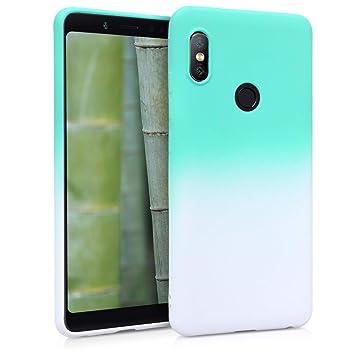 kwmobile Funda para Xiaomi Redmi Note 5 (Global Version) / Note 5 Pro - Carcasa de TPU para móvil y diseño Bicolor en Menta/Blanco