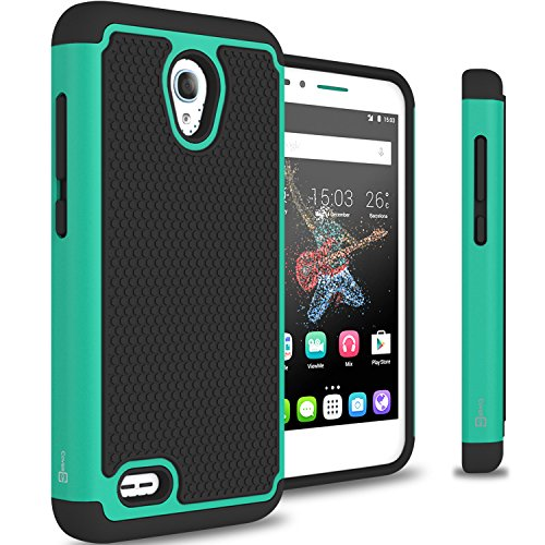 Alcatel One Touch Go Play Case, CoverON HexaGuard Series Protective Hybrid Hard Phone Cover for Alcatel One Touch Go Play/Conquest - Teal