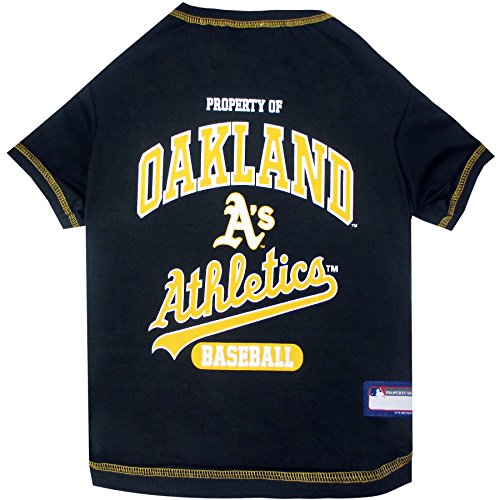 (MLB Oakland Athletics Dog T-Shirt, Large. - Licensed Shirt for Pets Team Colored with Team Logos )