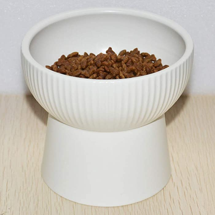 Raised Cat Bowl, Elevated Cat Food Bowls Water Bowl with stand Ceramic Cat Feeding Bowls Stress Free Pet Food & Water Bowls
