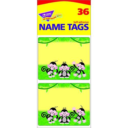 TREND ENTERPRISES INC. MONKEY MISCHIEF NAME TAGS (Set of 12)