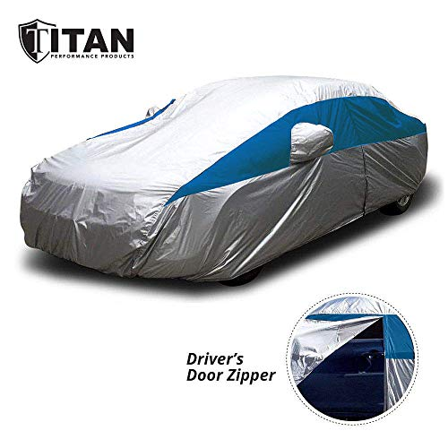 Titan Lightweight Car Cover (Silver with Bondi Blue) | Outdoor Waterproof Cover for Camry and More | Measures 200 Inches, Comes with 7 Foot Cable and Lock, Features a Driver-Side Zippered Opening