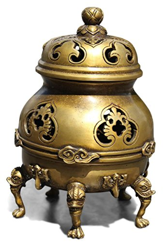 Chinese Censer Incense Burner in Bronze (23 cm) Incent Stcks Holder - Asian Buddhism Home Decor - AsienLifeStyle from Asien LifeStyle