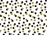 Printed Tissue Paper for Gift Wrapping with Design (Black & Gold Polka Dots on White), 24 Large Sheets (20x30)