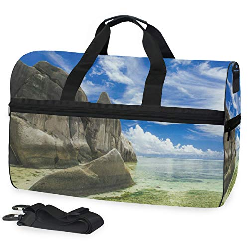 (Gym Bag Summer Beach Seawave Sport Travel Duffel Bag with Shoes Compartment Large Capacity for Men/Women)