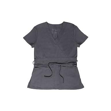 06b7aab784a Vestex Signature Stretch Women's Mock Wrap Solid Scrub Top Xx-Small Pewter
