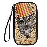 Bigcardesigns Funny Popcorn Owl Print Passport Holder Travel Wallet Wrist Strap
