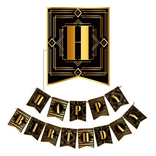 KUNGYO Roaring 20s Party Decorations - Happy Birthday Banner Black and Gold Bunting 1920s Vintage Party Supplies Favors Gilding Letter Garland Pre-Assembled]()