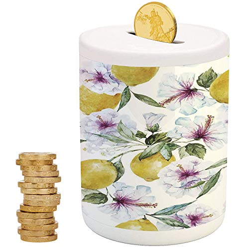(iPrint Spring,Ceramic Girls Bank,for Party Decor Girls Kid's Children Adults Birthday Gifts,Flowers Lemons Essence Refreshing Agriculture Harvest Aroma Organic Watercolor Art)