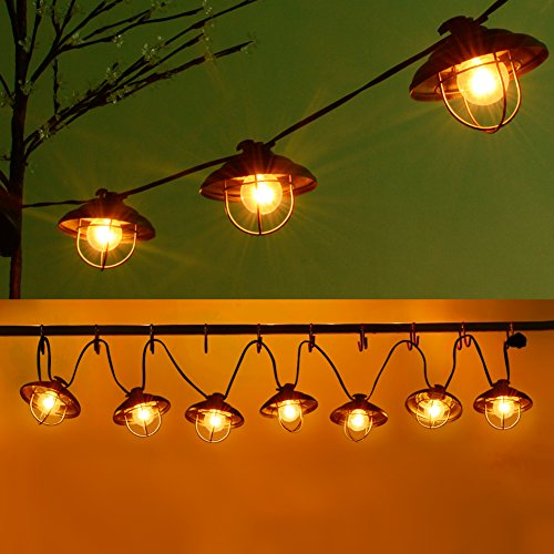 Patio String Lights, Ucharge Globe String Lights Outdoor 7 Clear Bulbs Ambience Lighting with Metal Case and Black Wire Kitchen/Cafe/Gazebo/Party/Indoor/Outdoor String Lights - Backyard Lights 8.5ft