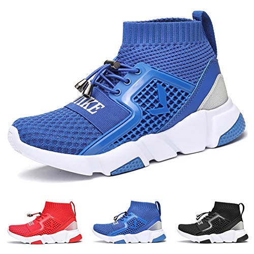 WETIKE Boys Shoes Kids Sneakers Girls Lightweight Sports Shoes Slip On No Tie Running Walking School Shoes Casual Trainer Shoes Soft Knit Tennis Mesh Shoes Blue Size 6.5 (Hi Top Tennis Shoes)