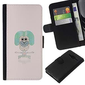 Protector de cuero de la PU de la cubierta del estilo de la carpeta del tirón BY RAYDREAMMM - Samsung Galaxy Core Prime - Extracto del arte pop