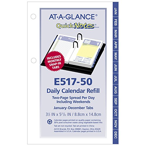 "AT-A-GLANCE Daily Desk Calendar Refill, QuickNotes, January 2018 - December 2018, 3-1/2"" x 6"", Loose Leaf (E51750)"