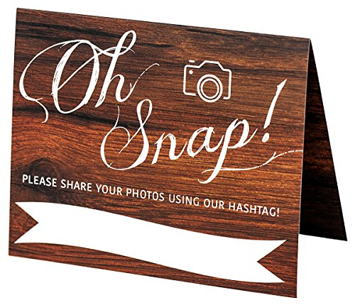 Wedding Hashtag Sign | Set of 5 Rustic Wood Look Instagram Signs | Oh Snap | 4x5 Folded Double Sided On Heavy Cardstock With Linen Texture | Beautiful Wedding Decorations