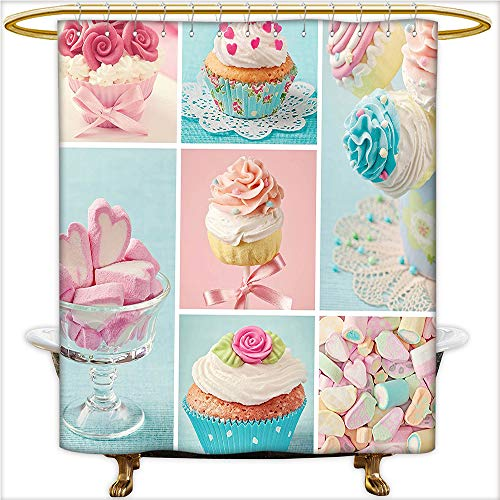 Qinyan-Home Shower Curtain Sets Collage of Cupcakes and Marshmallows in Pastel Colors Cute Sweet Photos for Light Blue Light Pink. Clear Non Toxic,No Chemical Odor, Rust Proof Grommets.W54 x H84 Inch -