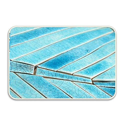 Turquoise Seabreeze Mosaic Non Slip Doormat for Patio,Front Door,Welcome Mat Bathroom Kitchen Decor Area Rug(16 X 24 Inch)
