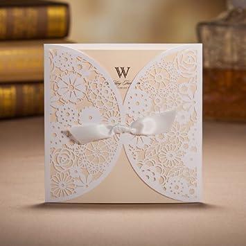 SwirlColor 10 Stück Der Laser Cut Spitze Gepresste Blumen Einladungskarten  Für Hochzeit, Party Weiße Schleife