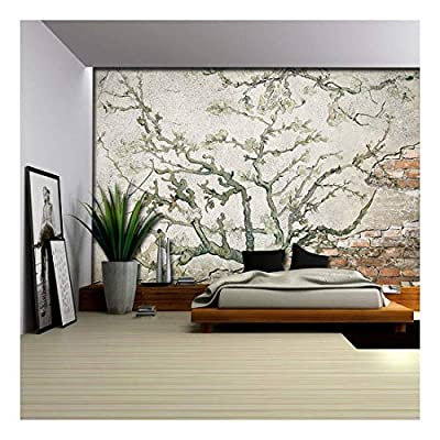Stunning Object of Art, Top Quality Design, Almond Blossom Painting by Vincent Van Gogh on a Brick Wall with Cement Wall Mural
