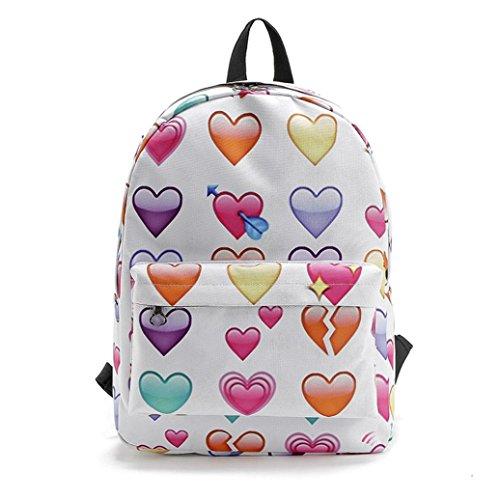Travel Backpack ,Creazy Women Travel Backpack Emoji Shoulder School Book Bag Rucksack (B)