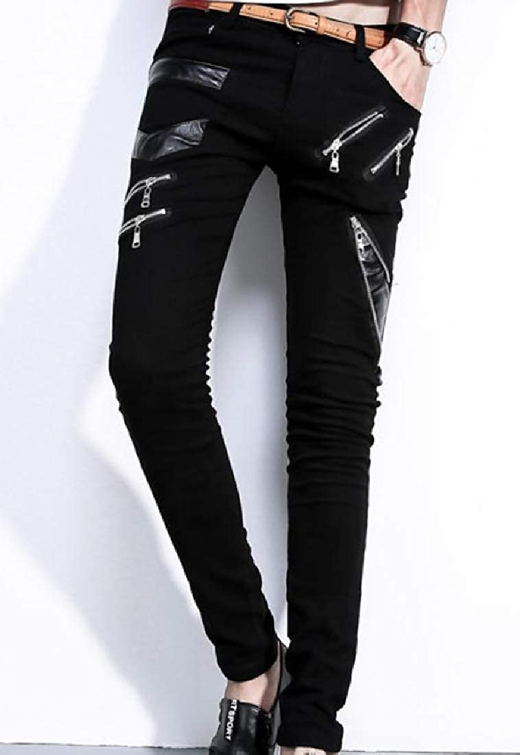 Zimaes-Men Mesh-Paneled Punk Rock Imitation Leather Pencil Pants