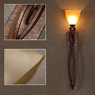ZSAIMD Vintage decorativo salón TV fondo lámpara de pared Clubhouse europeo escaleras lámpara de pared larga espejo faros (una luz cálida, luz blanca B) (Color : A): Amazon.es: Iluminación