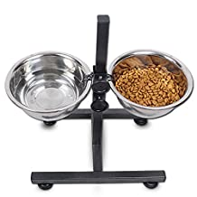 Adjustable Safe Stainless Steel Double Dog Bowl Stand Diner