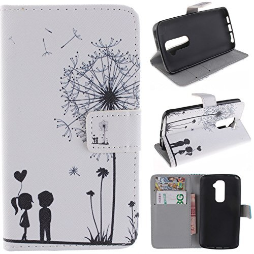 LG G2 Case,LG G2 Wallet Kickstand Case,Tribe-Tiger Stylish Dandelion Witness Love Series Wallet PU Leather Flip Cover Case,[Stand Built-In Card Slots Feature] Flip Folio Case Cover for for LG G2 D800,D801,D802(Dandelion Witness Love)