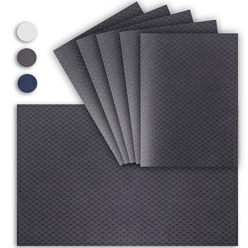 VCVCOO Anti-Skid Double-Sided Placemat Set of 6 Washable, Waterproof Charcoal Gray Waffle Table Mat 13 X 19 Inch for Kitchen Dining Home Décor
