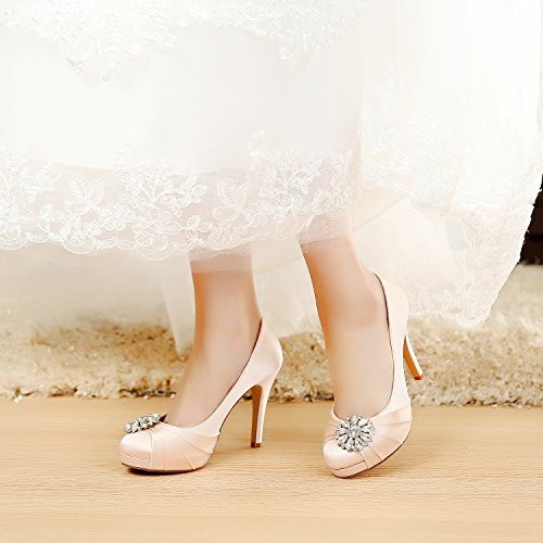 5442f524fcfa chic LUXVEER High Heel Women Shoes Satin Wedding Shoes with Rhinestone  Bridal Shoes Dress Sheos RS