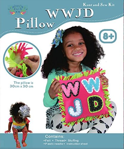 Craft Gods Eye (WWJD Pink Knot and Sew Kit, Best Kit on the Market for Children Crafts, that Reinforces What Would Jesus Do, This Sew and Stuff Activity is Ideal for Girls and Boys Ages 5-13 Years Old. by Zoey's Art)