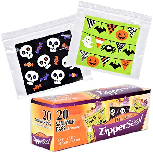 Halloween Plastic Sandwich Bags Zipper Seal Trick and Treat Candy Goodie Party Bags 80 Bags 2 Designs (20 Bags per Box) for $<!--$12.95-->