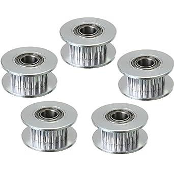 wangdd22 5pcs GT2 Timing cinturón correa de distribución polea (20 dientes) aluminio 20T agujero 5 mm con rodamientos para impresora 3d accesorios cinturón ...
