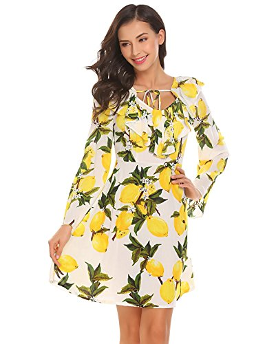 Sleeve Dress Pure Flare Cross Deep Loose Women neck Mini Floral Straw Print White Short Bulges Front V xgvw6pzq