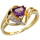10k Gold Natural Amethyst Ring Trillium Cut 6mm February Birthstone Diamond Accent 1/2 inch wide, size 8