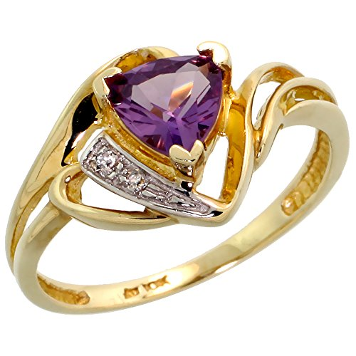 10k Gold Natural Amethyst Ring Trillium Cut 6mm February Birthstone Diamond Accent 1/2 inch wide, size 8 by Silver City Jewelry