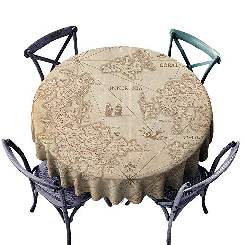 ScottDecor Patio Round Tablecloth Fabric Tablecloth Map,Highly Detailed Ancient Grunge Treasure Map Adventure Sailing Island Journey Travel, Sand Brown Diameter 50