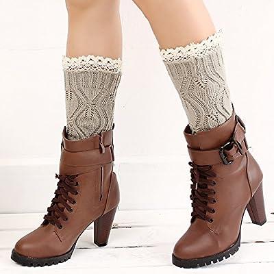 Women Lace Stretch Boot Leg Cuffs Leg Warmers Socks Topper Cuff