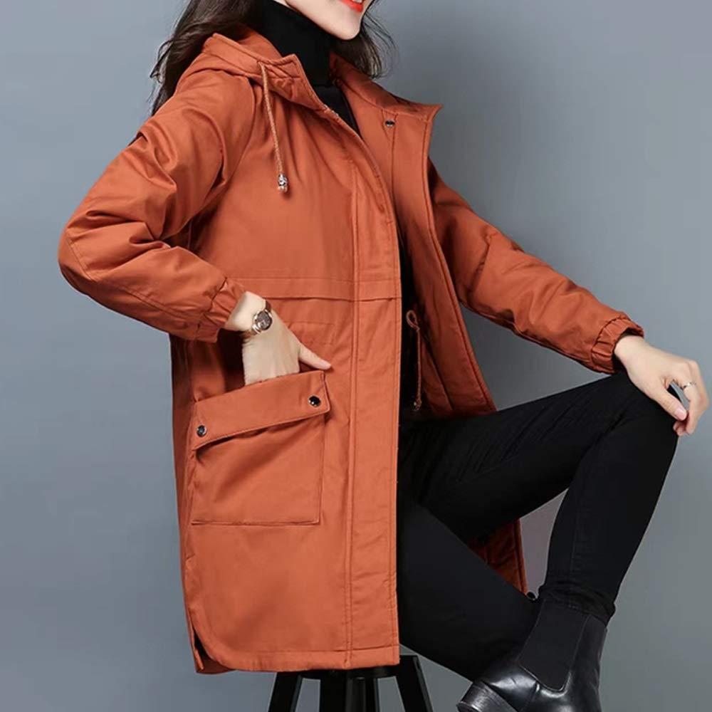 orange Cotton Coat New Winter Plus Velvet Cotton Jacket Medium Long Ladies Down Jacket Four colors Optional (color   Purple, Size   XL)