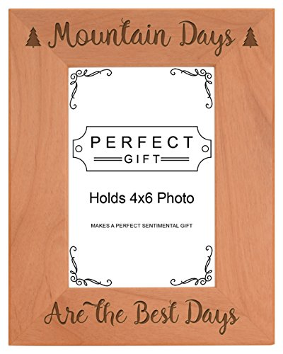 ThisWear Mountain Gifts Mountain Days Best Days Vacation Frame Wood Engraved 4x6 Portrait Picture Frame Colorado Portrait Picture Frame
